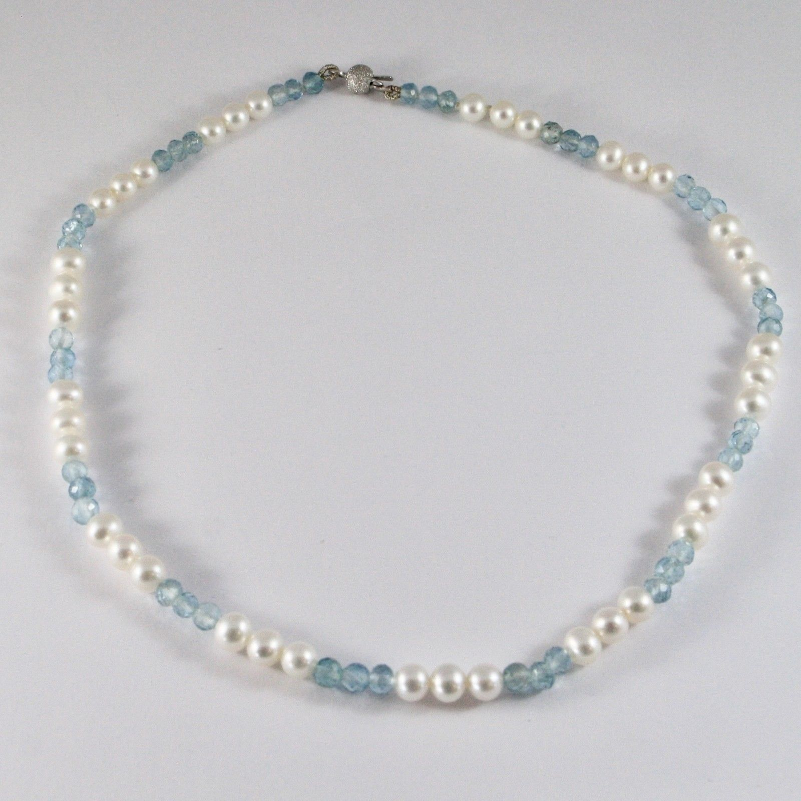 NECKLACE WHITE GOLD 18KT WITH WHITE PEARLS AND AQUAMARINE NATURAL FACETED