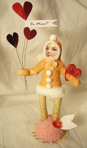 Vintage Inspired Spun Cotton Valentine Snow Girl  146