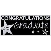 Class of 2018 Graduation Banner Silver and Black - £21.75 GBP