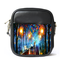 Sling Bag Leather Shoulder Bag Misty Mood Palette By Leonid Afremov Beau... - $14.00