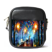 Sling Bag Leather Shoulder Bag Misty Mood Palette By Leonid Afremov Beautiful Pa - $14.00