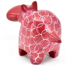 Vaneal Gourp Hand Crafted Carved Kisii Soapstone Red Hippopotamus Hippo Figurine image 3