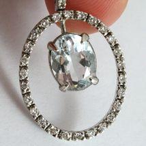 18K WHITE GOLD NECKLACE, OVAL AQUAMARINE PENDANT, DIAMONDS FRAME, VENETIAN CHAIN image 4