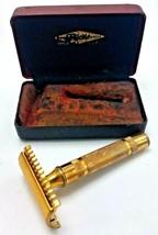 Vtg 1930s Gillette Gold Tone Long Comb Safety Razor w Case - $64.95