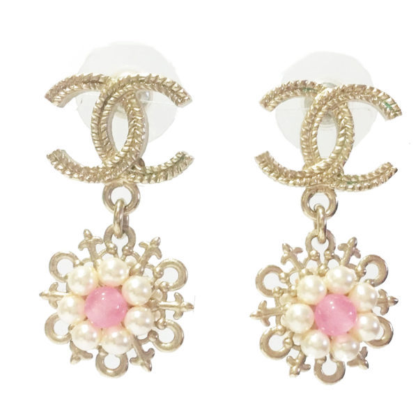 Authentic chanel 16 cruise light gold cc pearl pink stone dangle piercing earrings 1 600x600
