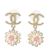 AUTHENTIC Chanel Light Gold CC Pearl Pink Stone Cruise Dangle Piercing E... - $529.99