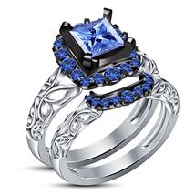 Engagement Bridal Ring Set Princess Cut Blue Sapphire White Gold Over 92... - $87.99