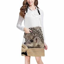InterestPrint Cute Hedgehogs Read Book Funny Animal Home Kitchen Apron f... - $19.79