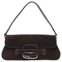 TOD'S Shoulder Bag Baguette Suede Leather Dark Brown  Purse Silver HW - $193.05