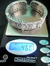 Judith Ripka Sterling Silver Diamonique Floral Hinged Cuff Bracelet AVG JR Box image 9