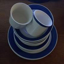 Gibson Stoneware Dinnerware Blue white 13 pieces - $63.62