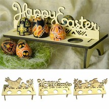 Wooden Tray Easter Egg Holder Happy Easter Chick Stand Shelves Party Orn... - $4.97