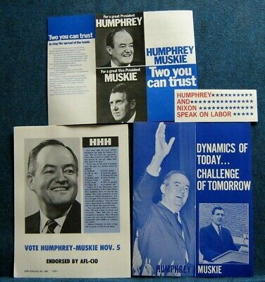 Primary image for  1968 Hubert Humphrey For President (4) Paper Campaign Items - 2 BY AFL-CIO