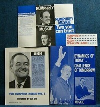 1968 Hubert Humphrey For President (4) Paper Campaign Items - 2 BY AFL-... - $9.00