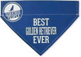 "Best Golden Retriever Ever Bandana New Blue Slip On Over Collar 12""x8"" L... - $11.87"