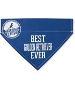 "Best Golden Retriever Ever Bandana New Blue Slip On Over Collar 12""x8"" L... - £8.70 GBP"