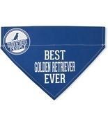 "Best Golden Retriever Ever Bandana New Blue Slip On Over Collar 12""x8"" L... - £8.52 GBP"