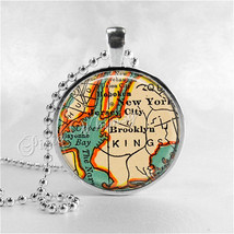 NEW YORK Map Pendant Necklace, Vintage New York Map Jewelry, Brooklyn Qu... - $11.95