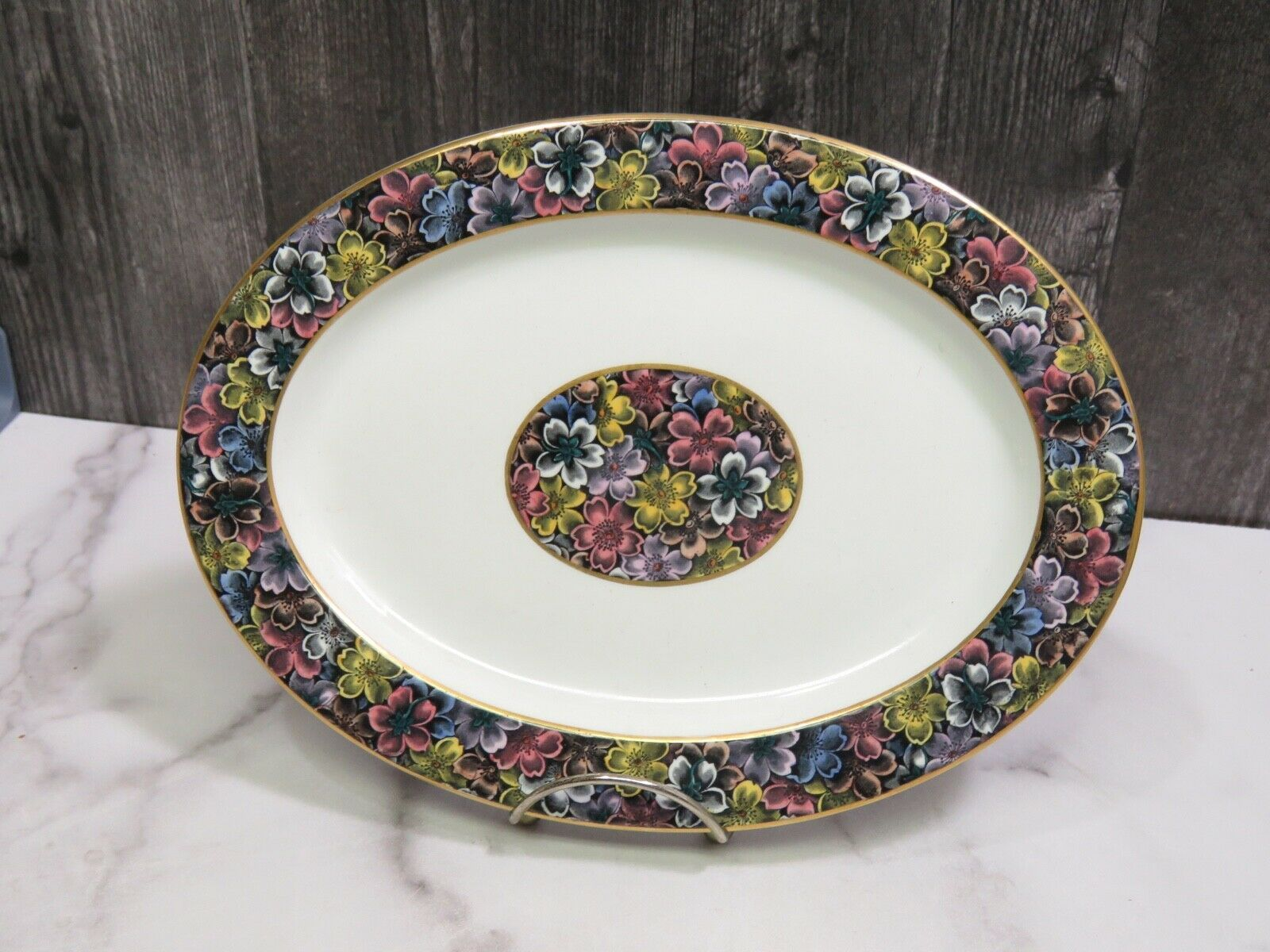 Primary image for Antique Royal Worcester for Tiffany & Co Imari Floral Oval Platter 10 3/8""