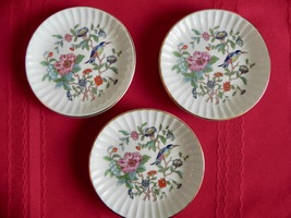 "Set 3 Aynsley PEMBROKE Gold Trim Sweet Meat Coaster RIBBED 4.25"" Dish - $35.00"