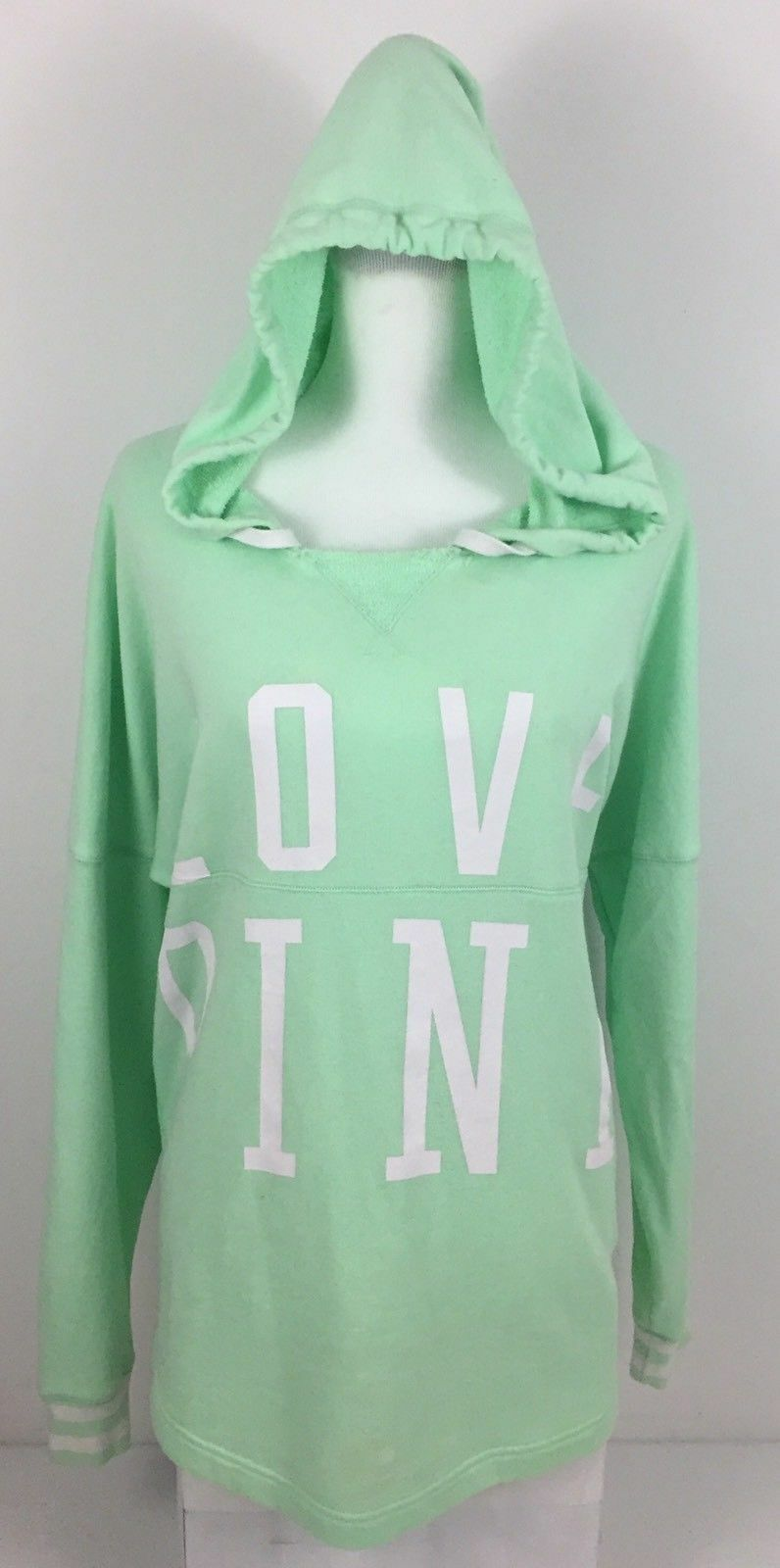 VICTORIA'S SECRET LOVE PINK Varsity Hoodie GREEN SWEATSHIRT pullover loose white