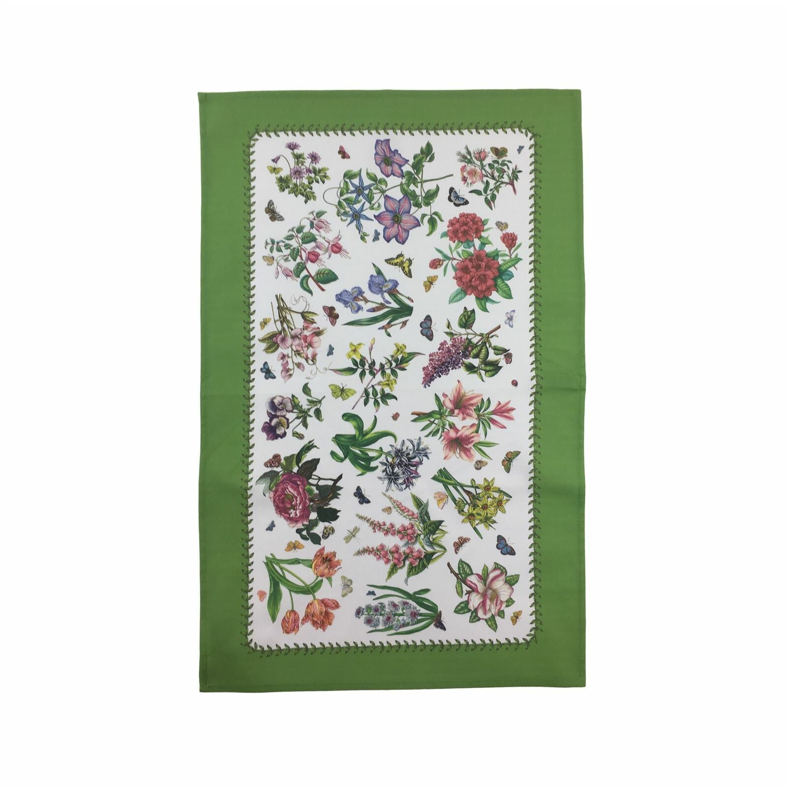 FLORAL FLOWERS BUTTERFLIES WHITE GREEN BORDERED 100% COTTON TEA TOWEL 45CM X74CM