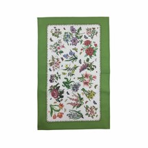FLORAL FLOWERS BUTTERFLIES WHITE GREEN BORDERED 100% COTTON TEA TOWEL 45... - $8.36