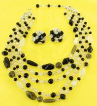 Vintage Czech Glass Smoky Bi-morphic Beads 5 Strand Necklace & Earring Set - $134.99