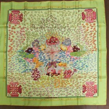 Hermes Scarf Stole Rencontre Oceane Annie Faivre Light green Silk New Ca... - $457.84
