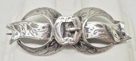 Victorian Antique Silver Buckle Ribbon Bar Pin Brooch - $59.00