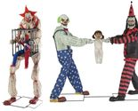 Halloween Animated CAGEY THE CLOWN WITH CLOWN IN CAGE & TUG OF WAR CLOWNS Prop - £513.18 GBP