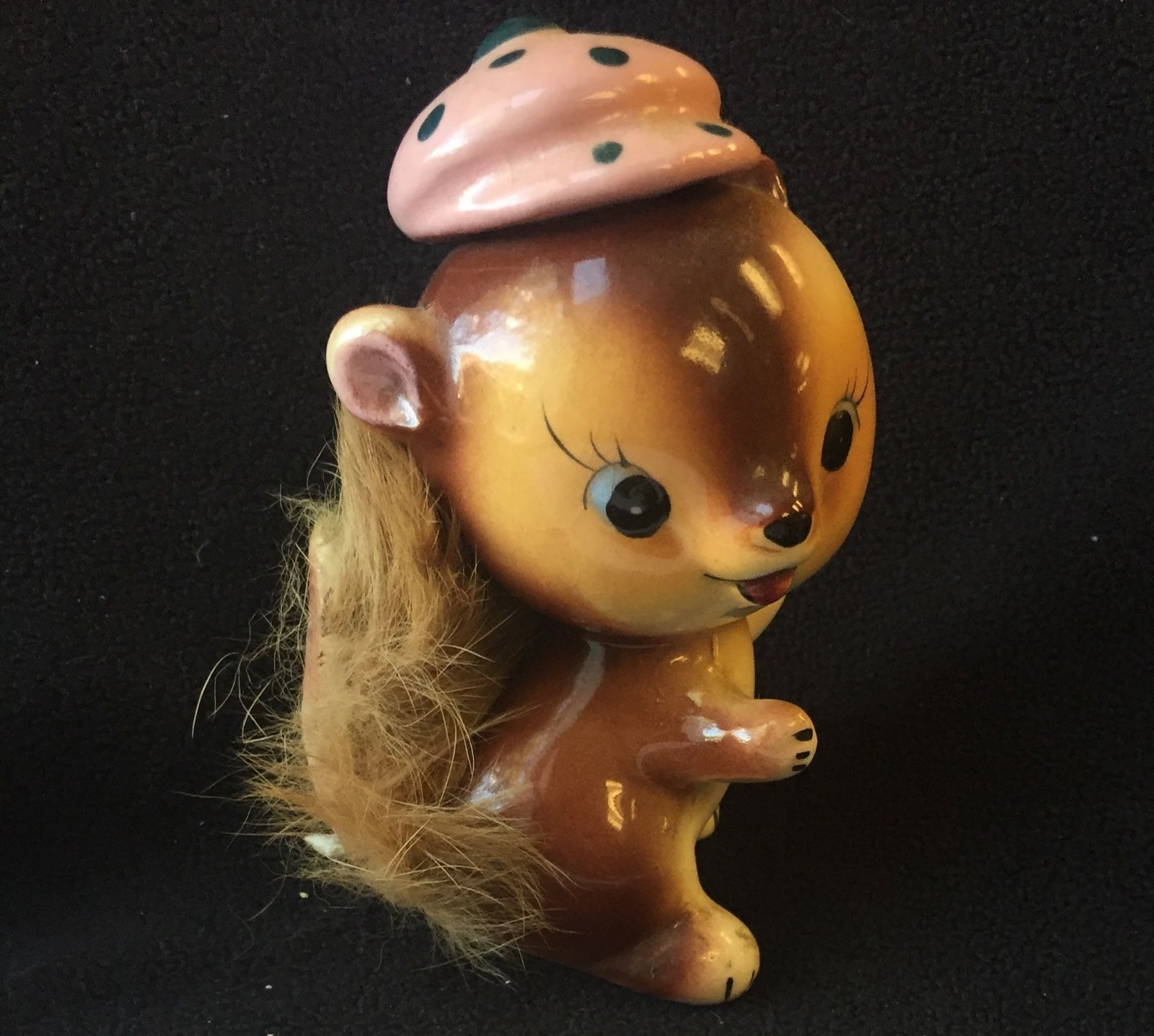"Vintage SQUIRREL wearing Hat Figurine 1950's UCAGCO Japan Furry Tail 4"" Tall"