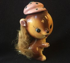 "Vintage SQUIRREL wearing Hat Figurine 1950's UCAGCO Japan Furry Tail 4"" ... - $34.64"