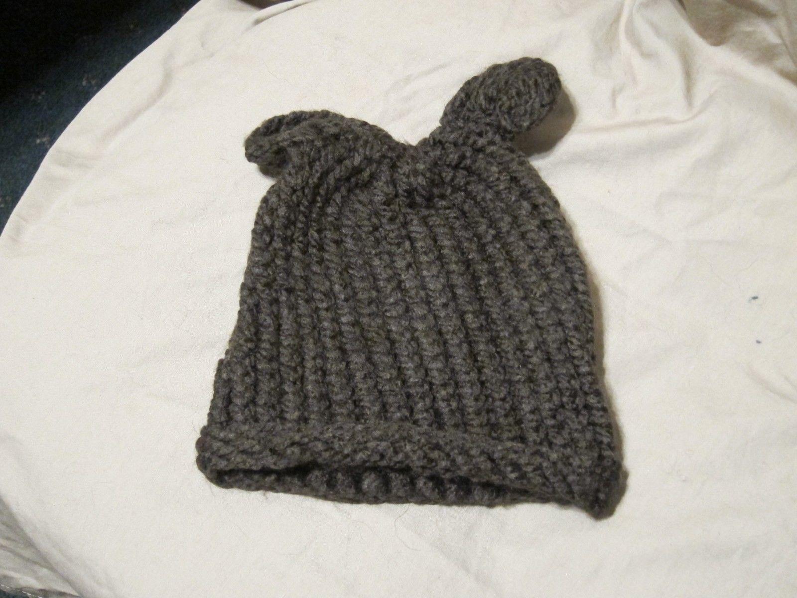 Handmade Knitted Brown Bear Infant Winter Hat Cap CUTE