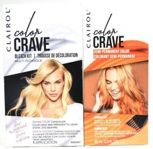 1 Clairol Color Crave High Lift Bleach Kit & Apricot Semi Permanent Hair Dye Set - $23.99