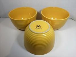 Royal Norfolk Set of 3  Yellow Ribbed Soup Bowls Cereal Bowls - $23.74
