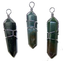 12 MOSS AGATE WIRE WRAPPED CUT STONE PENDANT rock stones jewelry  new un... - $18.00
