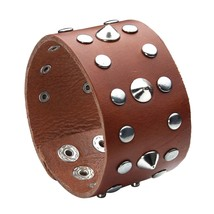 Genuine Leather Bracelet Bangle Cuff Brown Wide Band Studded - $22.06