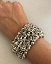 Vintage Flower and Round Shaped 5-layer Beaded Silver Tone Elastic Bracelet - $40.00