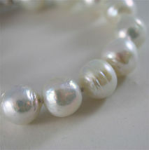 18K WHITE GOLD BRACELET WITH STRAND OF WHITE FW PEARLS 7.87 INCHES MADE IN ITALY image 2