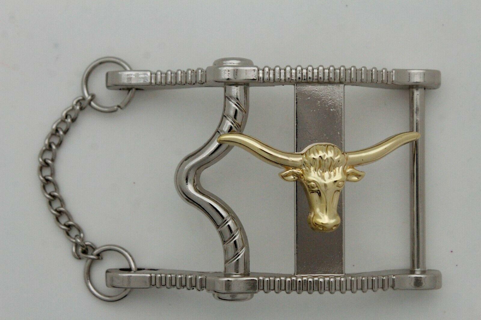 Herren Freizeit Western Cowboy Gürtelschnalle Silber Metall Lang Horn Kuh Gold