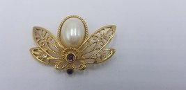 Vintage Signed Avon Gold Tone Pearl Jelly Belly Insect Stones Pin / Broo... - $19.32