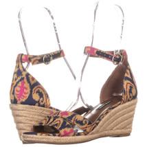 Nine West Jeranna Wedge Heel Espadrilles Sandals, Blue Multi, 8 US - $24.95