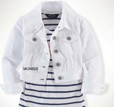 Ralph Lauren Girls Copped Jean Jacket 100% Cotton White Size 5 NWT - $32.99