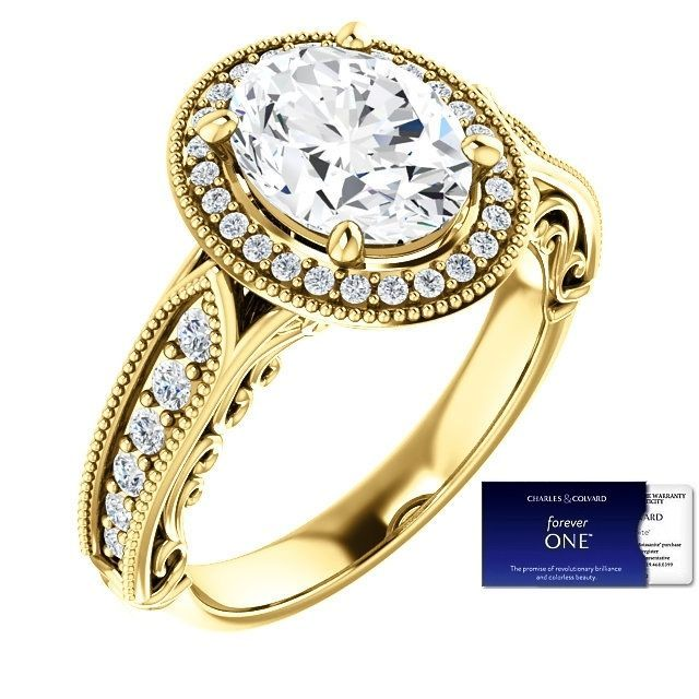 2.60 Carat Oval ForeverOne Moissanite and Diamond Ring 14K Gold Charles&Colvard