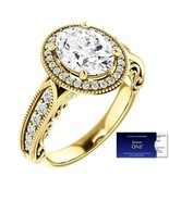 2.60 Carat Oval ForeverOne Moissanite and Diamond Ring 14K Gold Charles&... - $2,490.00
