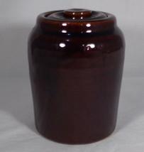 """Jam Pot & Lid Brown Pottery Shiny Glaze White-Base Clay 4"""" Tall No Mark ... - $4.95"""
