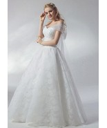 Affordable White Wedding Dresses Ball Gown Bow Off-The-Shoulder - $120.00