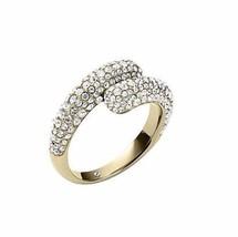 Michael Kors MKJJ3680 Gold Tone Pave Bypass Ring Size 8 BNWT $125 - $59.75