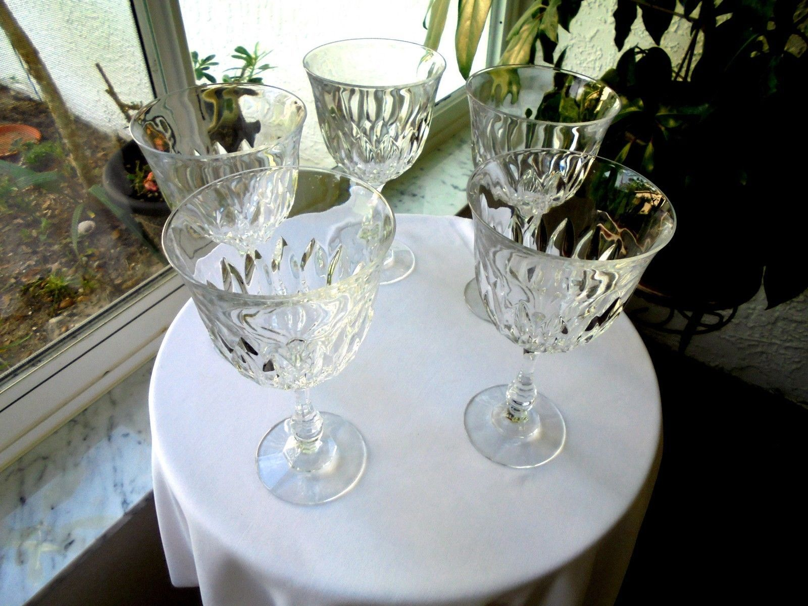 """Set of 5 High Quality Large Crystal Water Glasses 7 1/2"""" Tall - $59.40"""